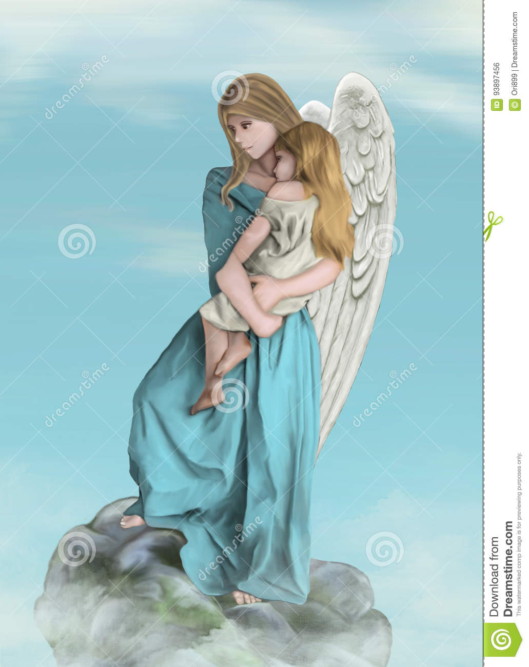 An Angel With A Little Girl Stock Illustration Illustration Of