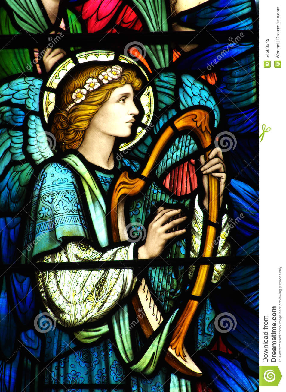 An Angel Making Music In Stained Glass Stock Image Image