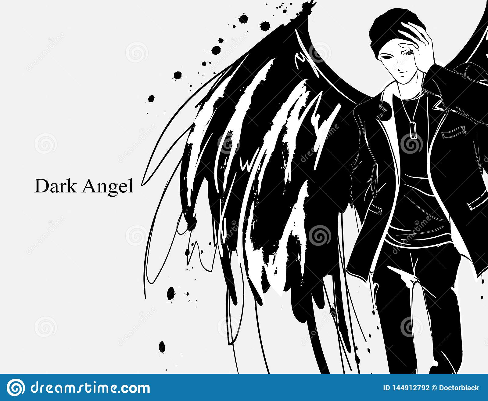 Angel Man Dark Angel Vector Image Of Beauty Fashion Angel Man Fashion Angel Stock Vector Illustration Of Body Figure 144912792