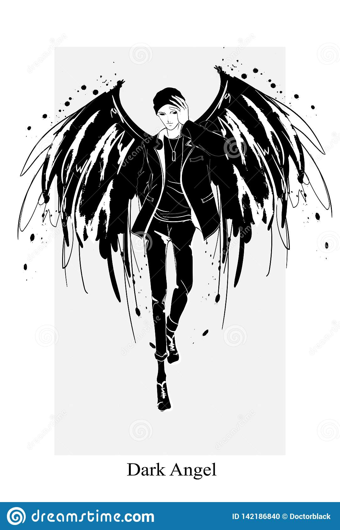 Angel Man Dark Angel Vector Image Of Beauty Fashion Angel Man Fashion Angel Stock Illustration Illustration Of Feather Dark 142186840