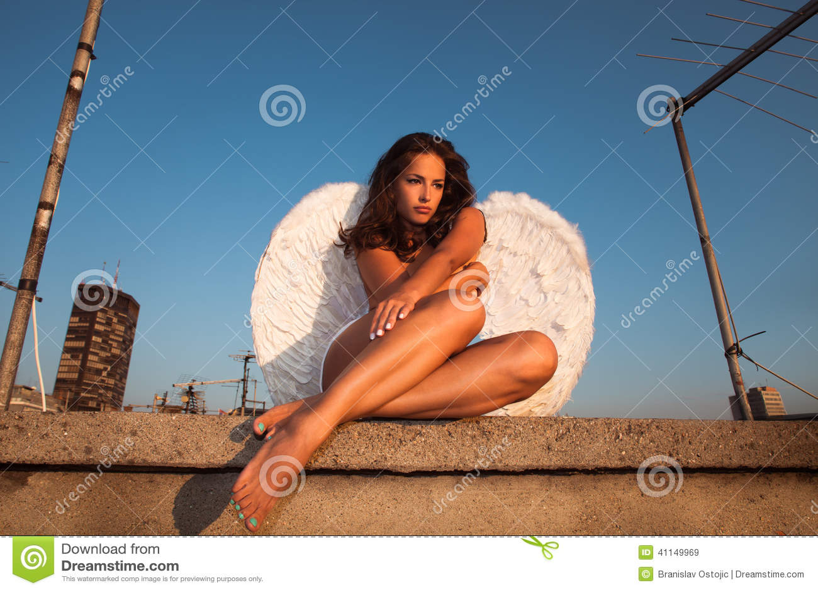 Symbolism woman roof