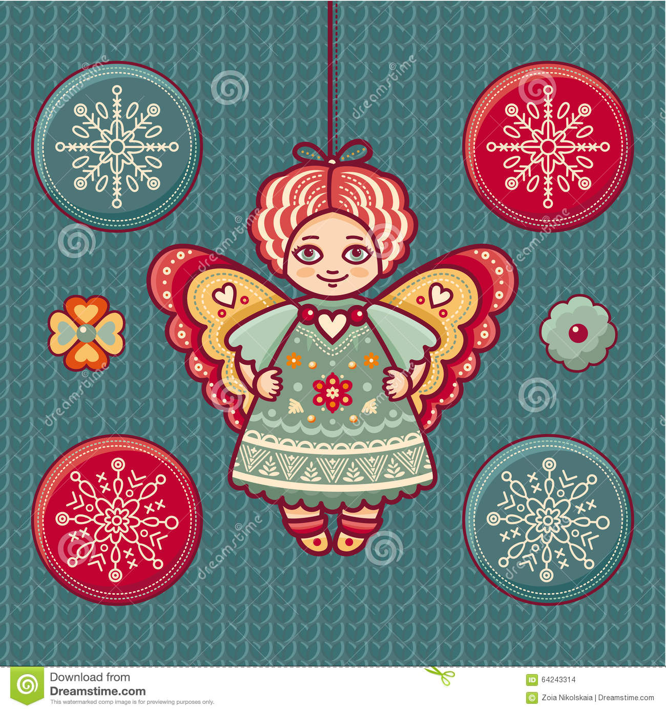 Angel set of color christmas toys stock vector image for Angel decoration template