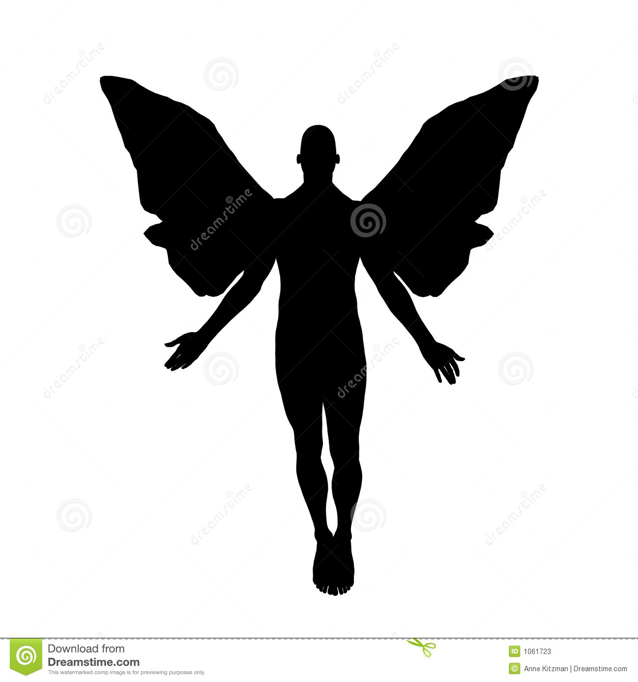 Silhouette of a male angel floating toward heaven, isolated on white ...