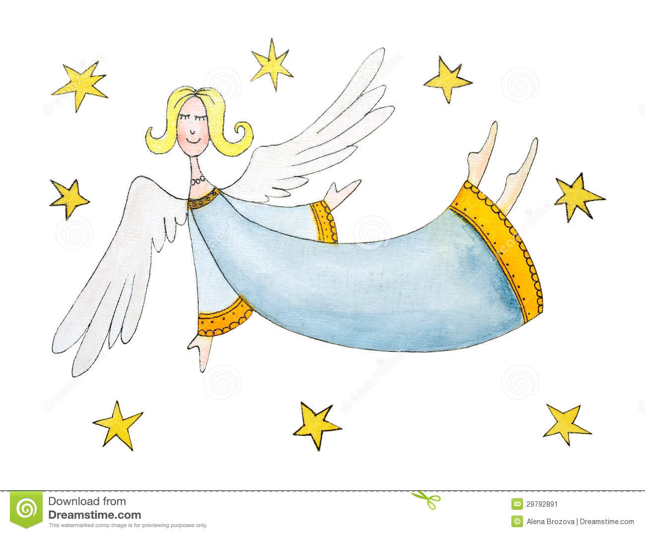 Angel with stars, childs drawing, watercolor paint