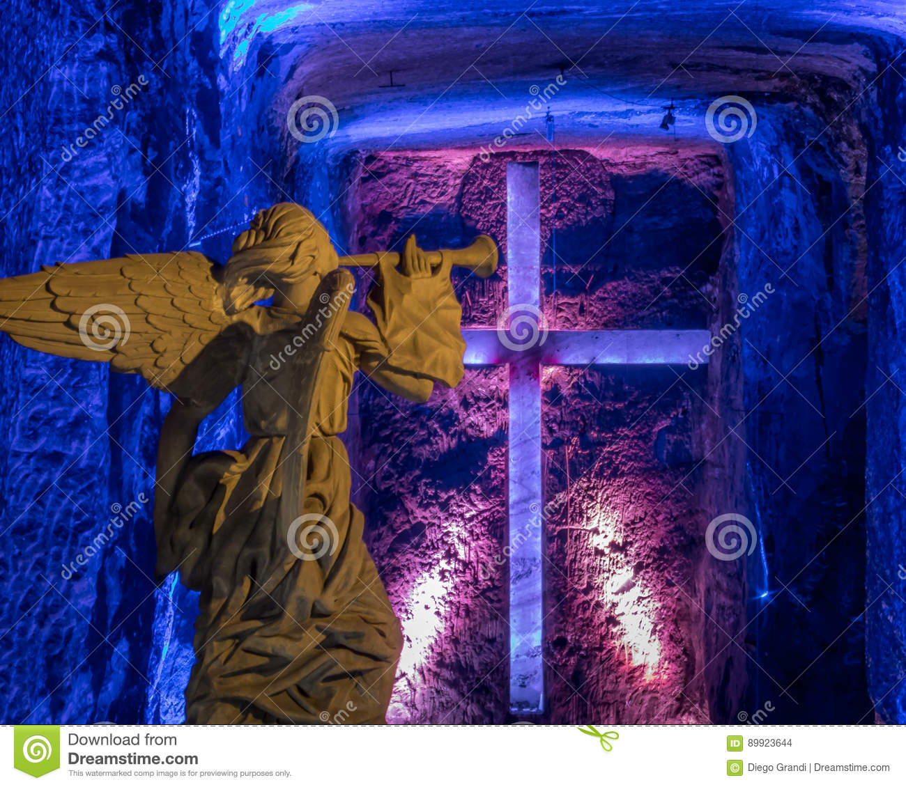 Angel statue and Cross in Salt Cathedral of Zipaquira, Colombia
