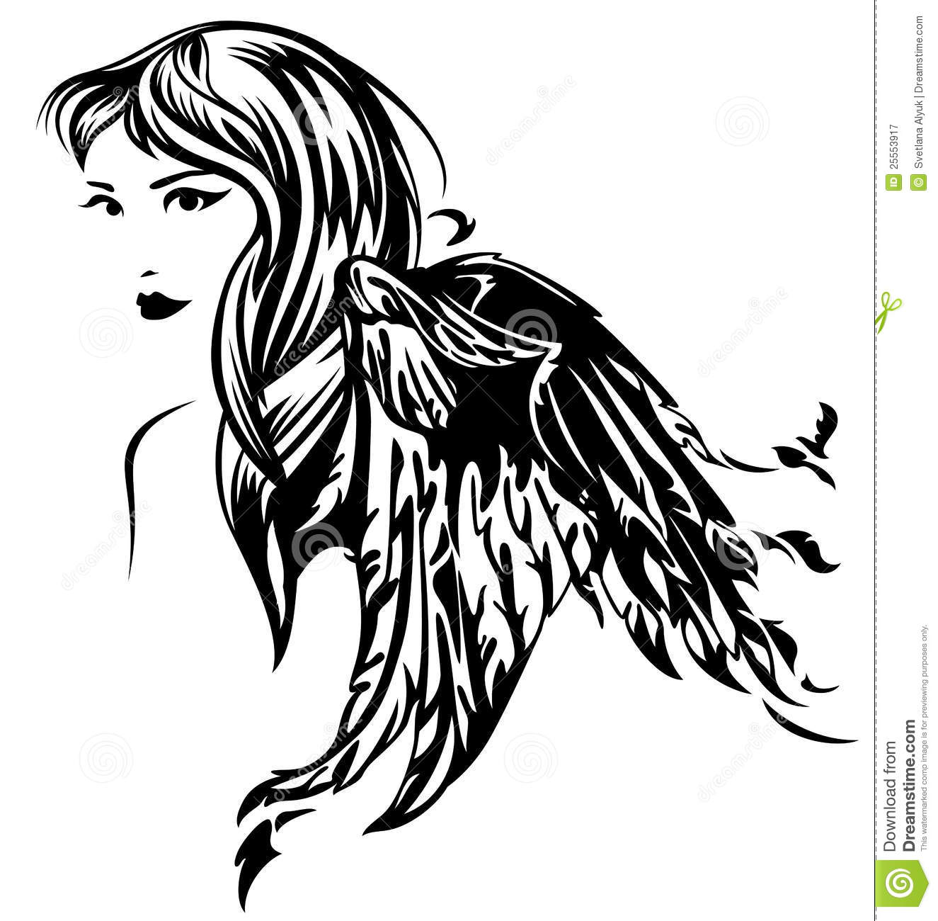Beautiful angel girl illustration - black and white profile portrait.