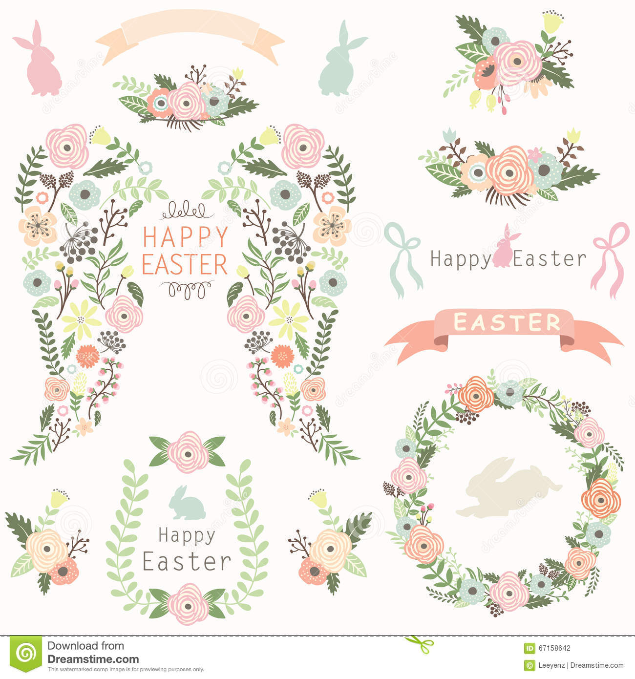 Angel Wing Easter Elements floral