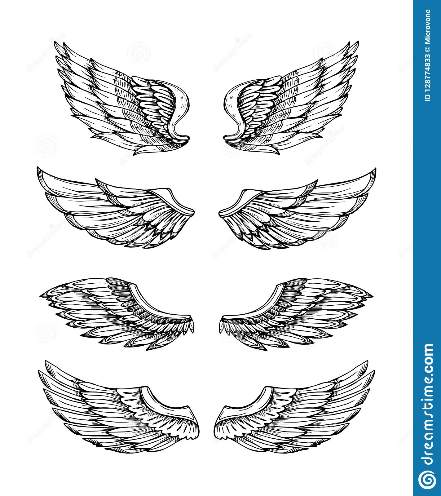 2164065e5 Angel wings. Abstract black winged design. Eagle bird wing hand drawn isolated  set. Feather bird wings, gothic tattoo illustration wing