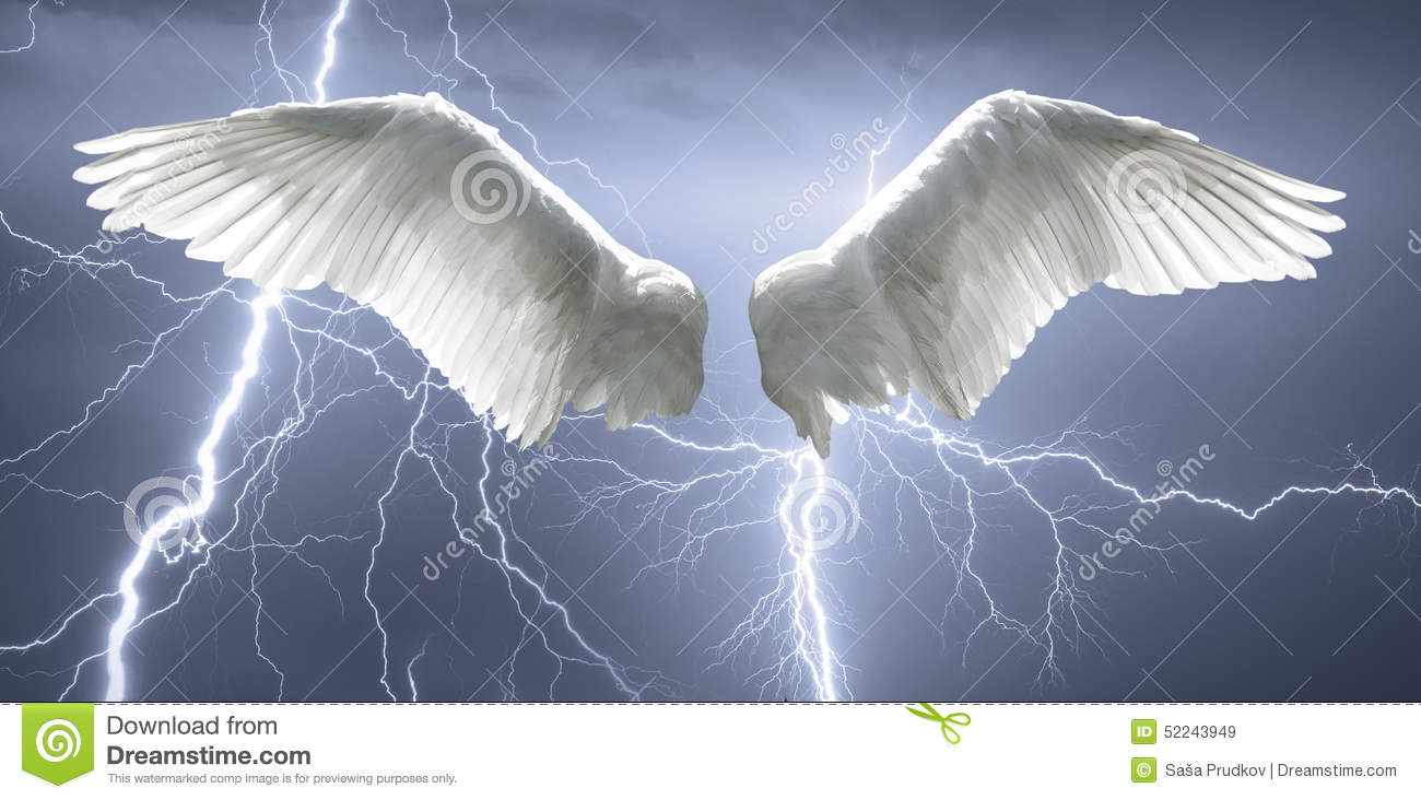 Angel Wings With Background Made Of Sky And Lightning ...