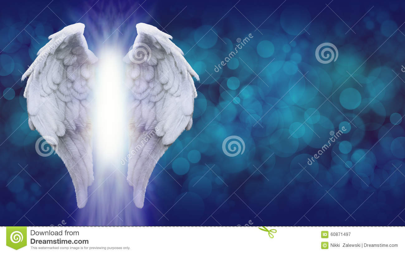 Download Angel Wings On Blue Bokeh Banner Stock Image - Image of enlightenment, holy: 60871497