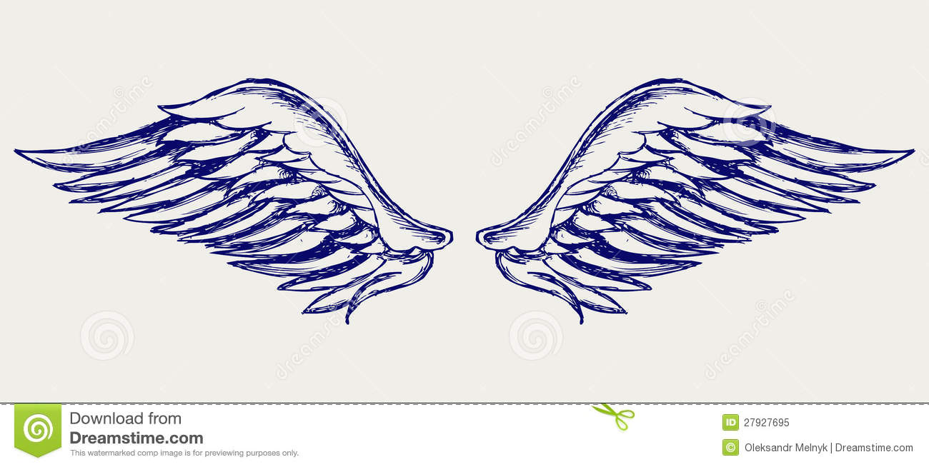 angel wings doodle style royalty free stock photo image 27927695