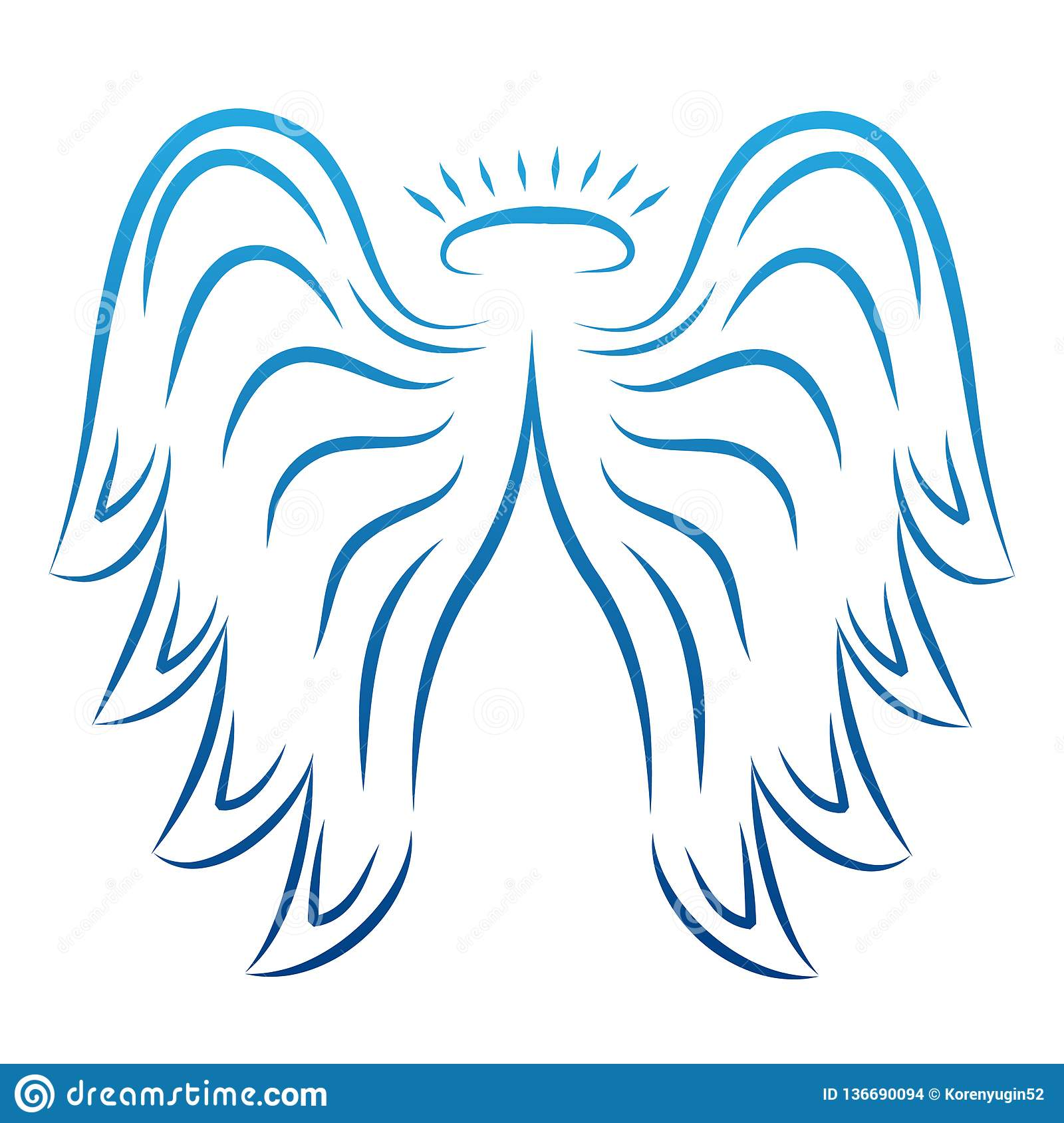 5161a6b2b Angel wings drawing vector illustration. Winged angelic tattoo icons. Wing  feather with halo,