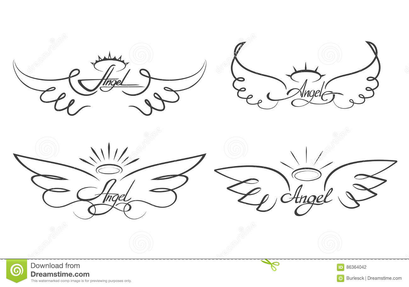 Angel Wings Drawing Vector Illustration Winged Angelic Tattoo Icons