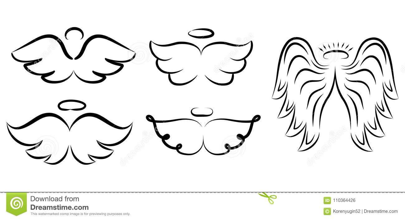 Angel Wings Drawing Vector Illustration Winged Angelic Tattoo I