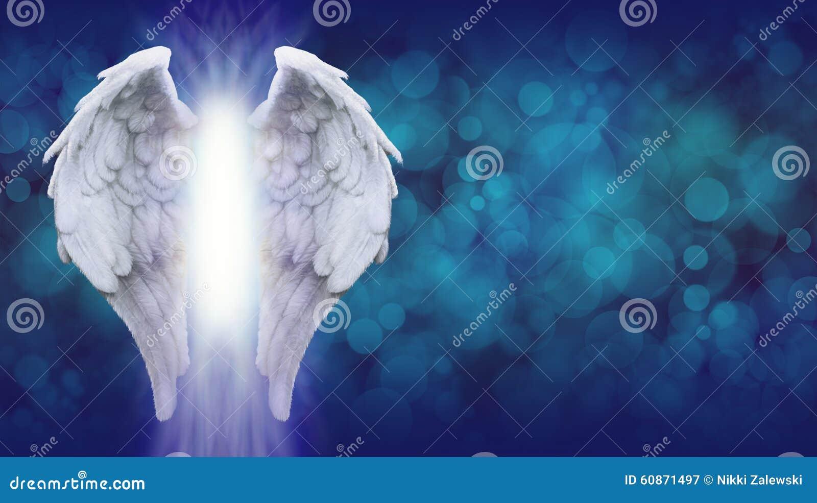 Angel Wings en la bandera azul de Bokeh