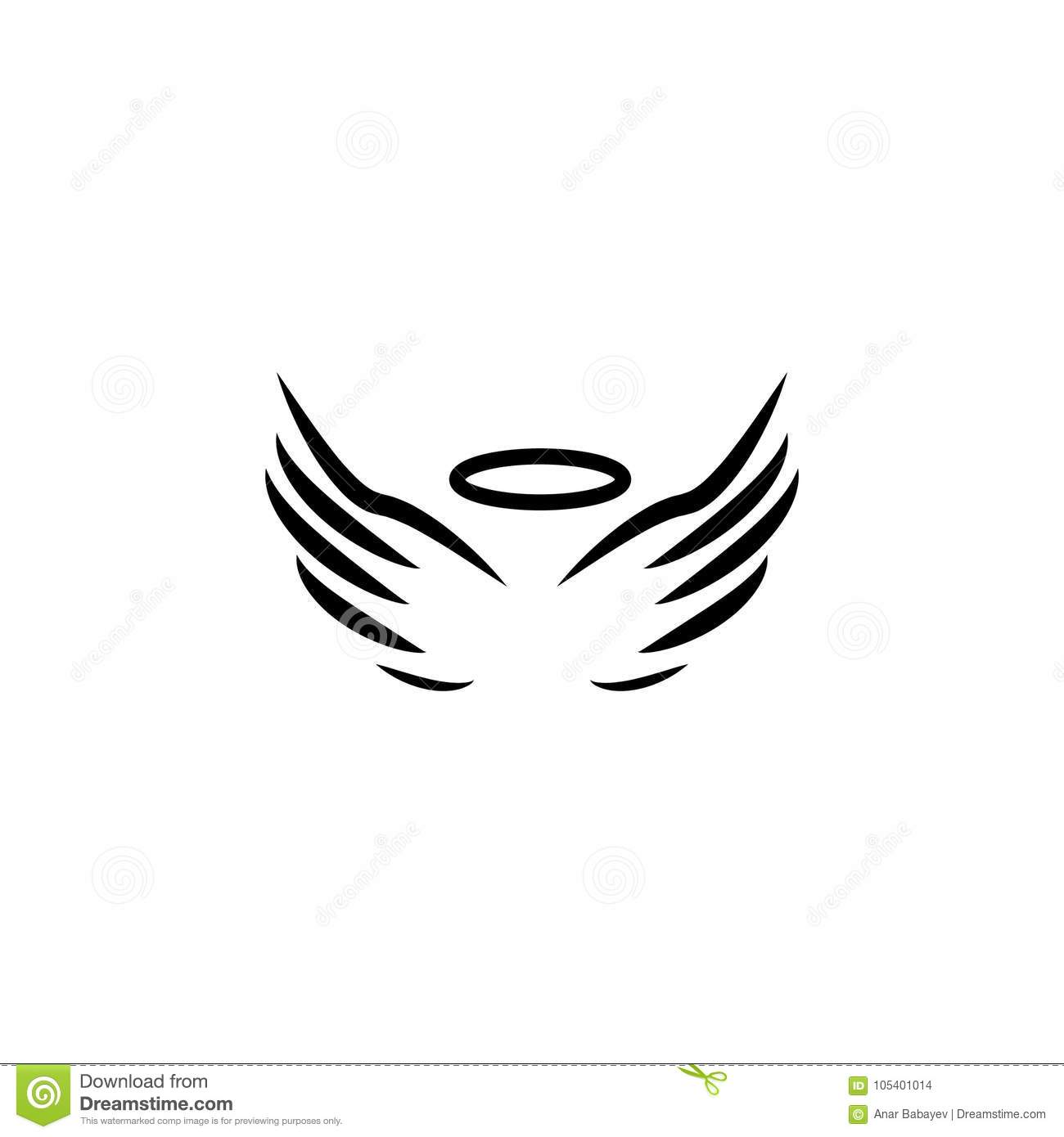 c6ee4f2db Angel wings and halo icon stock vector. Illustration of curve ...