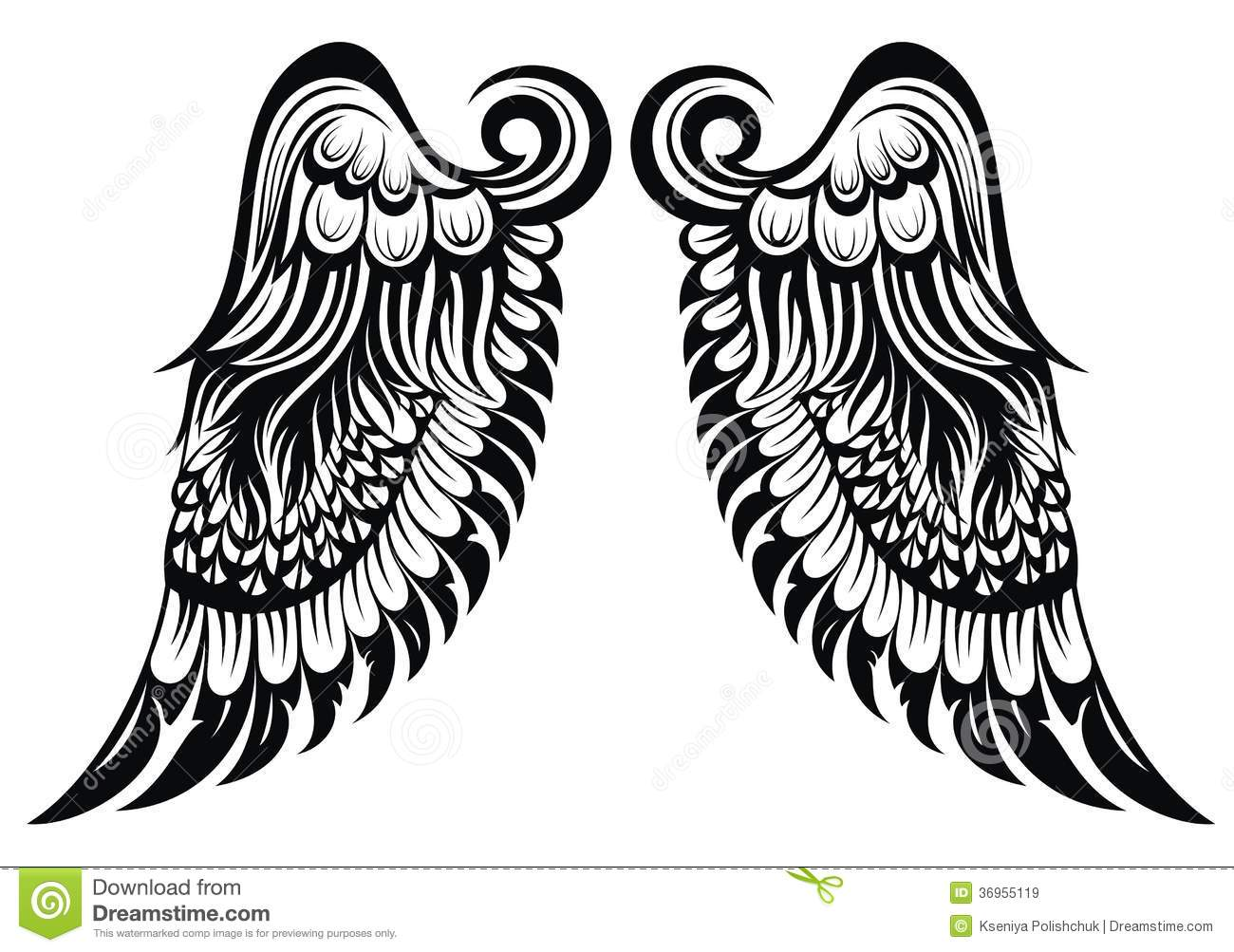 Royalty Free Stock Images Angel Wings Hand Drawn Tattoo Design Image36955119 on Dove Bird Tattoo