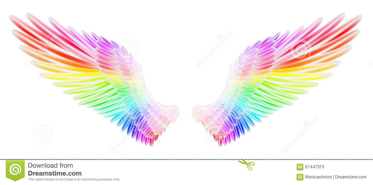 colored wings clipart