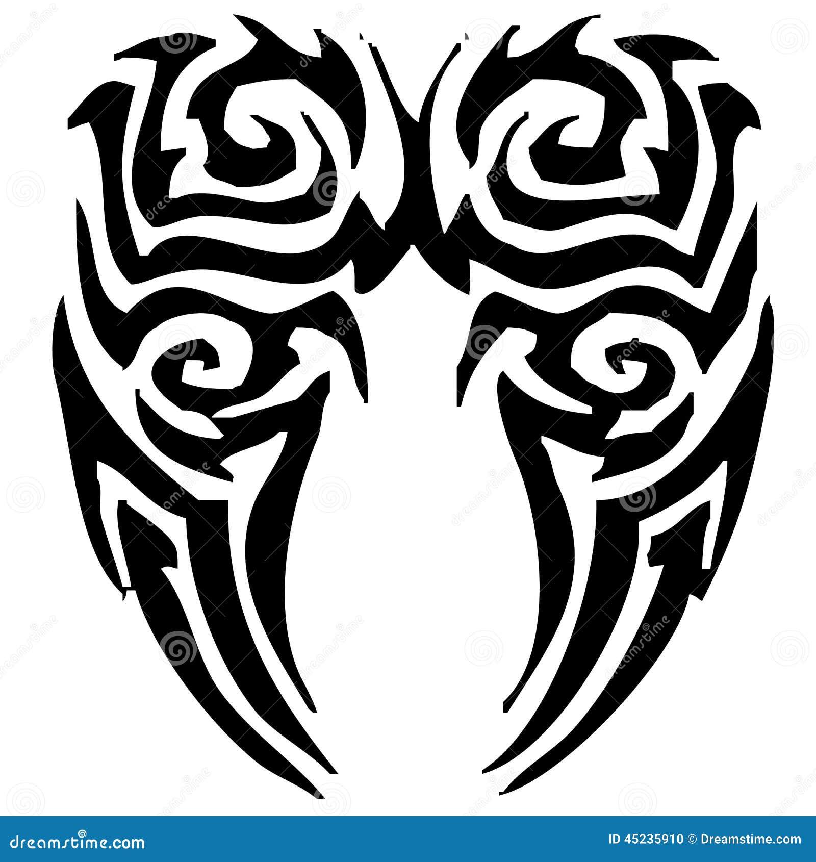 angel wings tattoo tribal illustration stock image 45235910. Black Bedroom Furniture Sets. Home Design Ideas