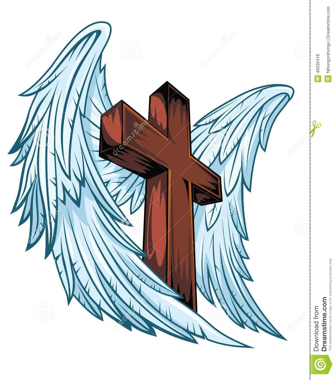 Angel Wings With Wooden Cross Stock Vector - Image: 46030418