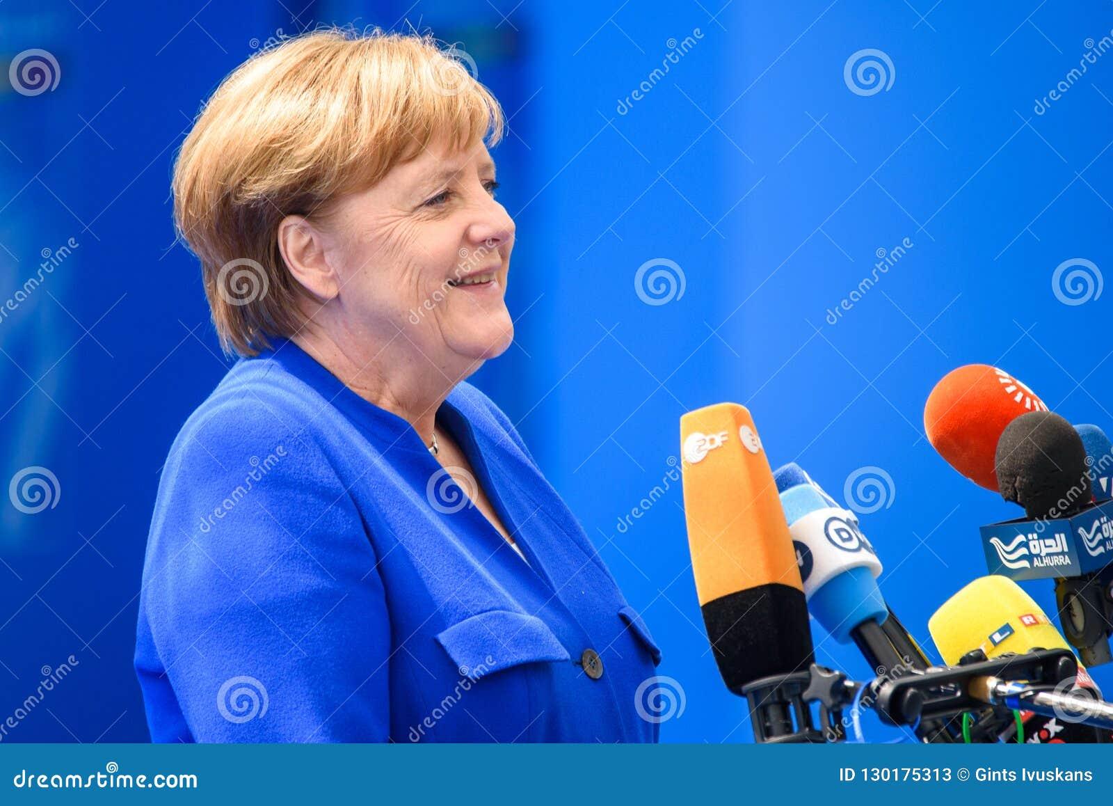 Angela Merkel, Kanzler von Deutschland, während der Ankunft zu NATO-GIPFEL 2018