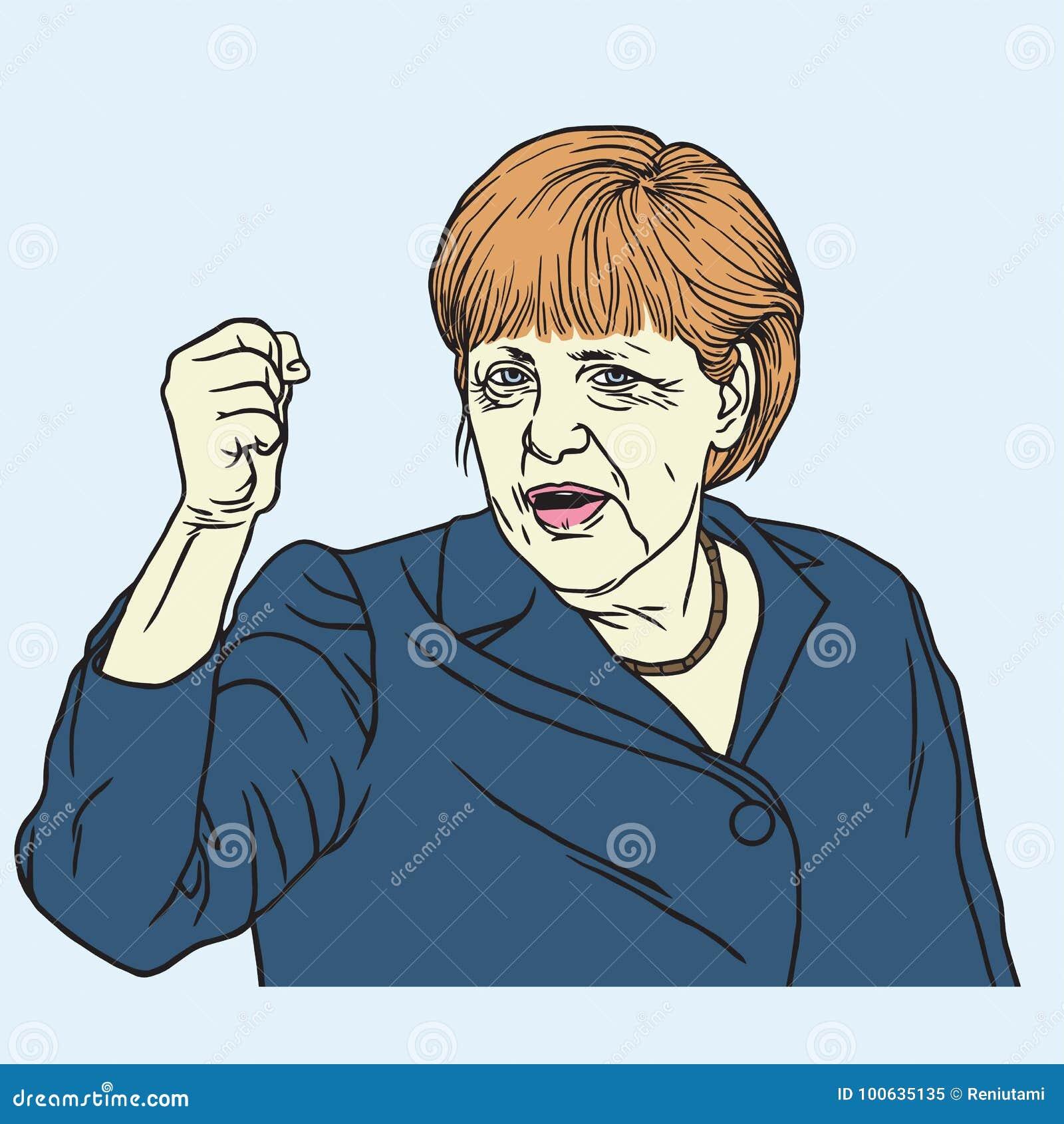 Angela Merkel portreta wektoru ilustracja Wrzesień 26, 2017