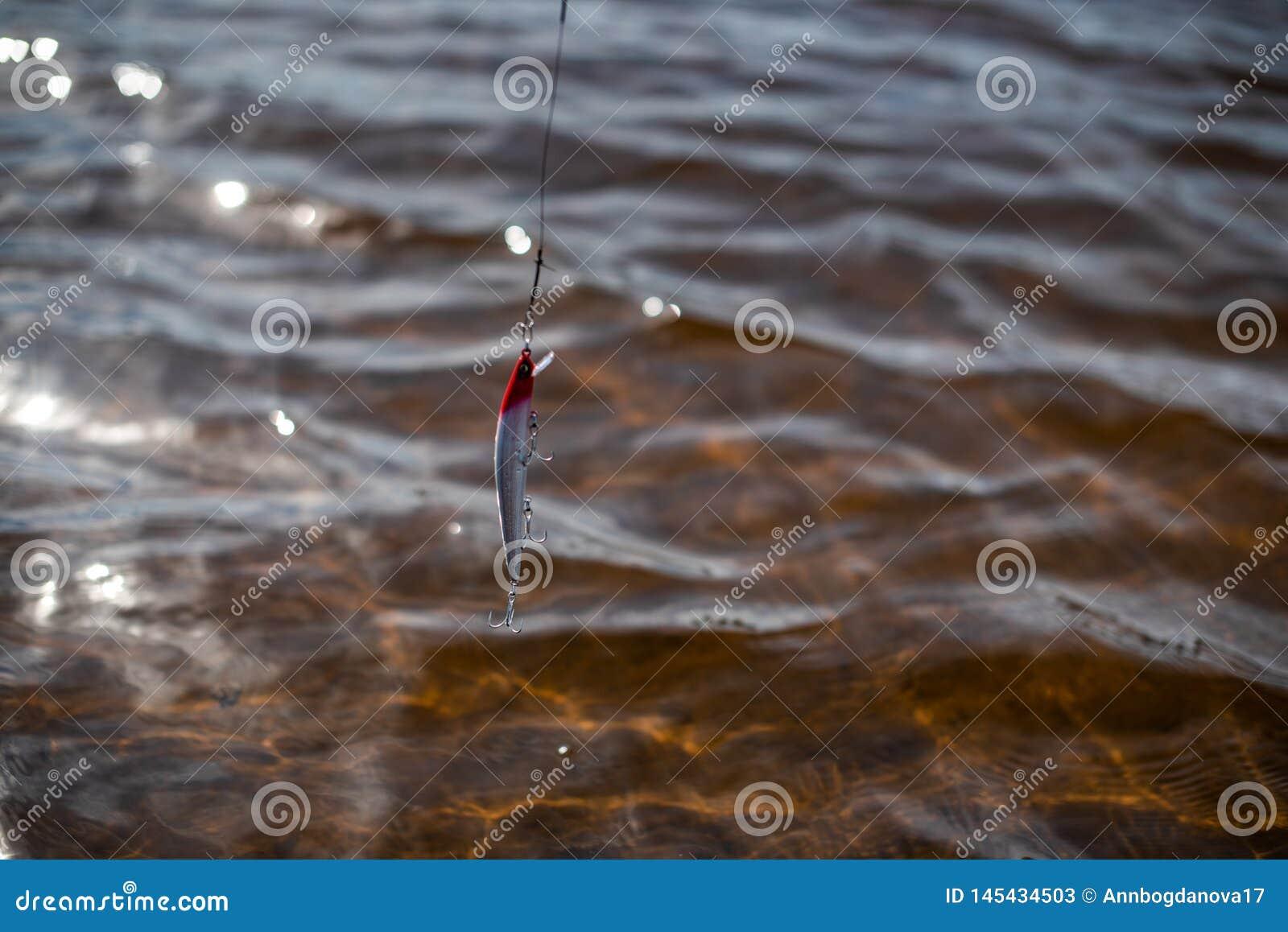 Angelausr?stung f?r die Fischerei auf dem Hintergrund des Wassers