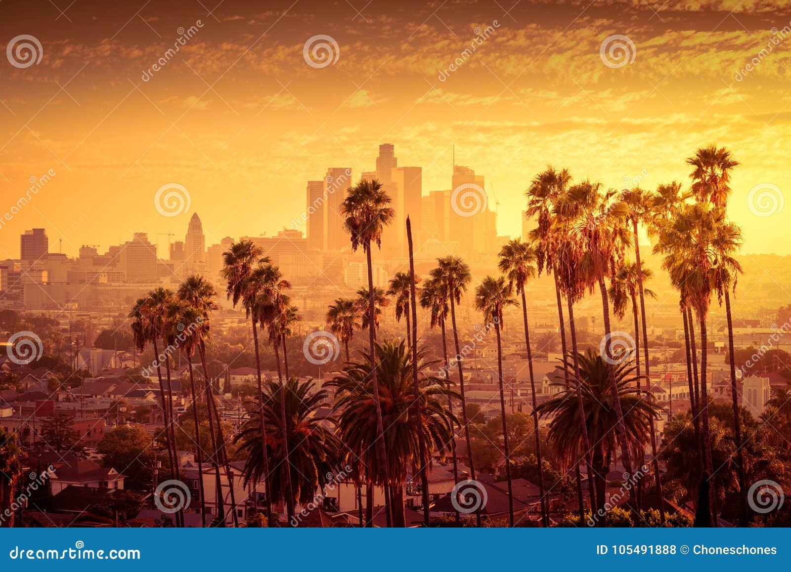 Angeles i stadens centrum los horisont