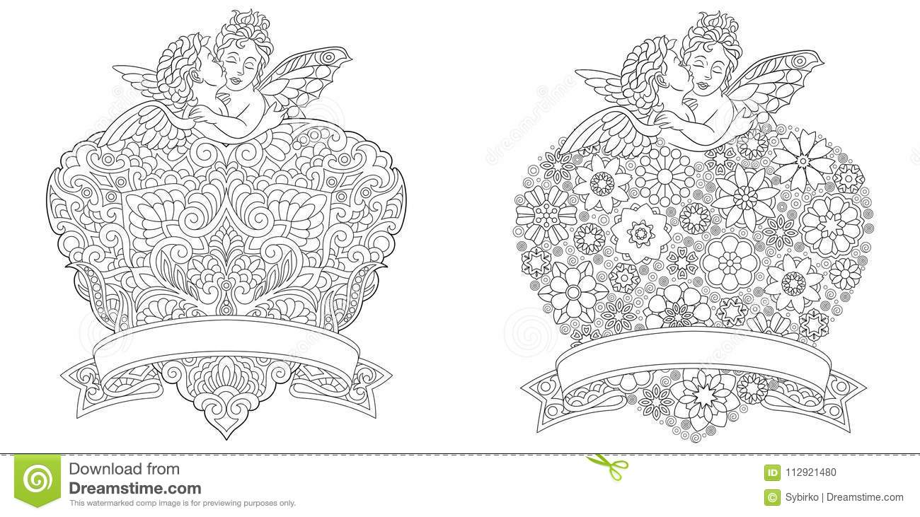 Angeli E Cuori Di Zentangle Illustrazione Vettoriale Illustrazione