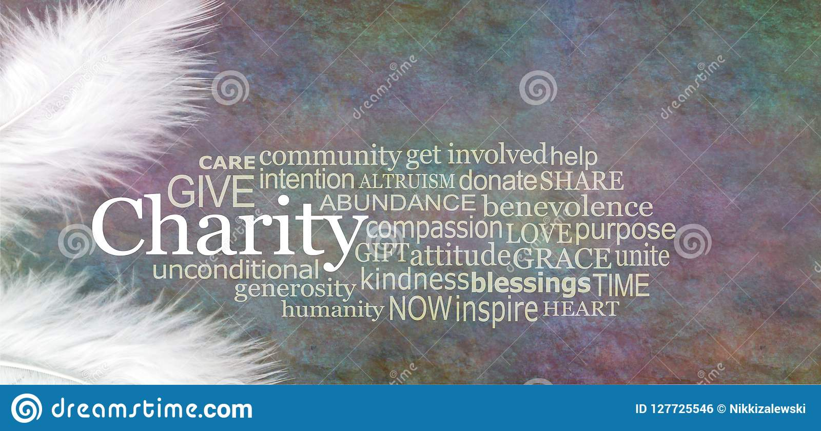 Angelic CHARITY Word Cloud Rustic Banner