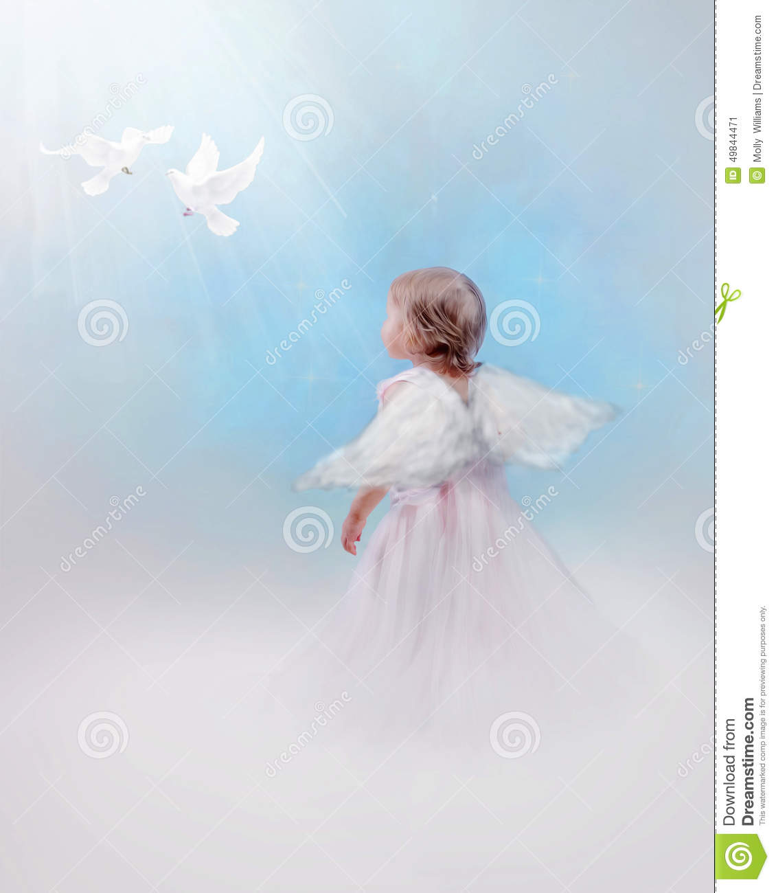 Angelic child with doves