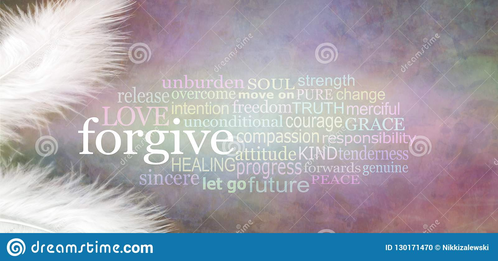 Angelic forgive Word Cloud Rustic Banner