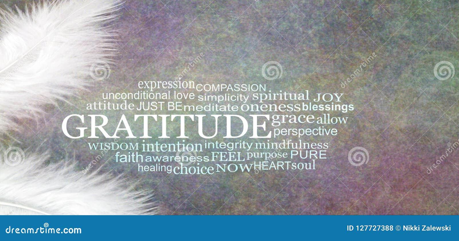 Angelic GRATITUDE Word Cloud Rustic Banner