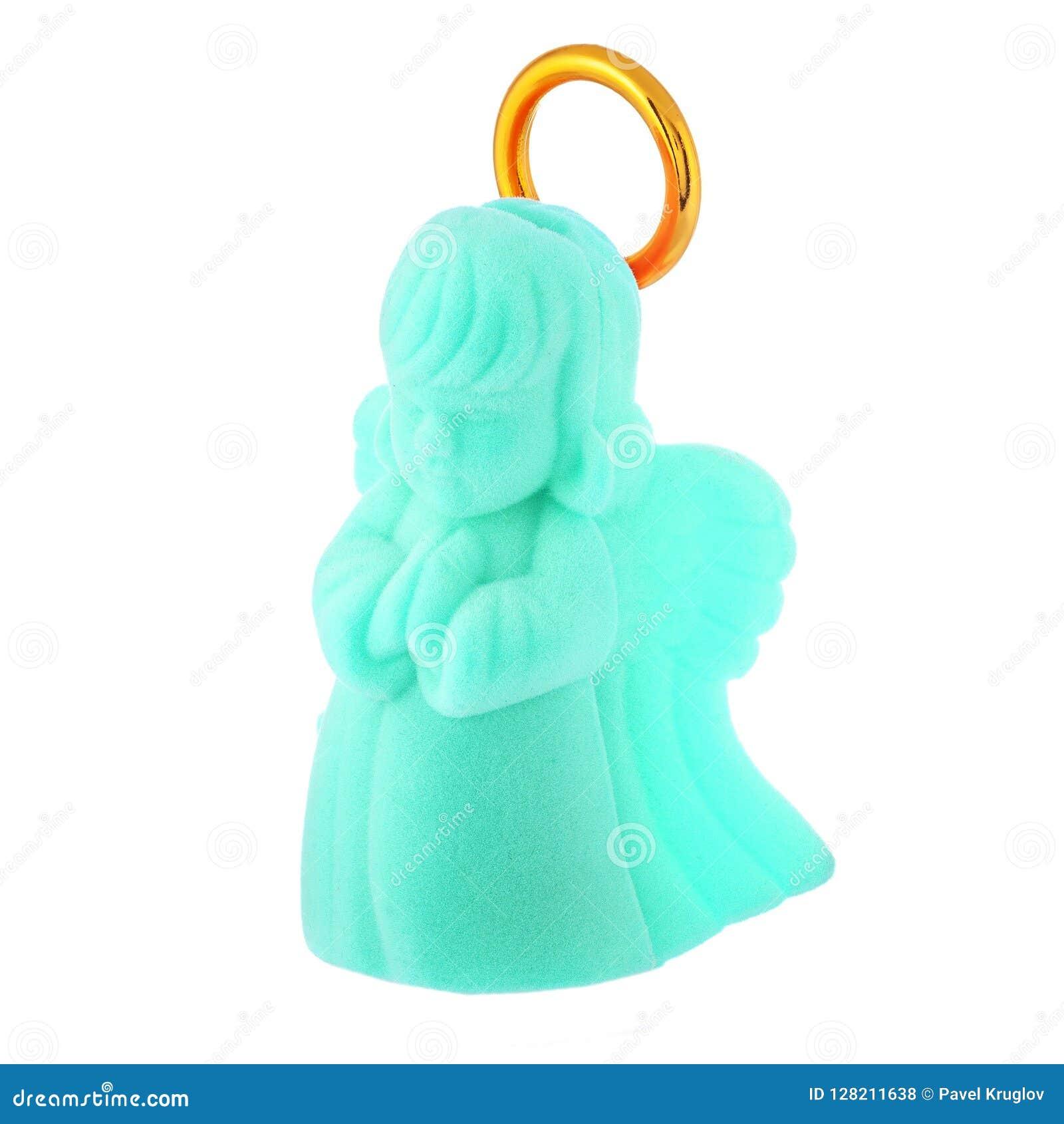 Angelo del bambino di preghiera del turchese con l alone dorato
