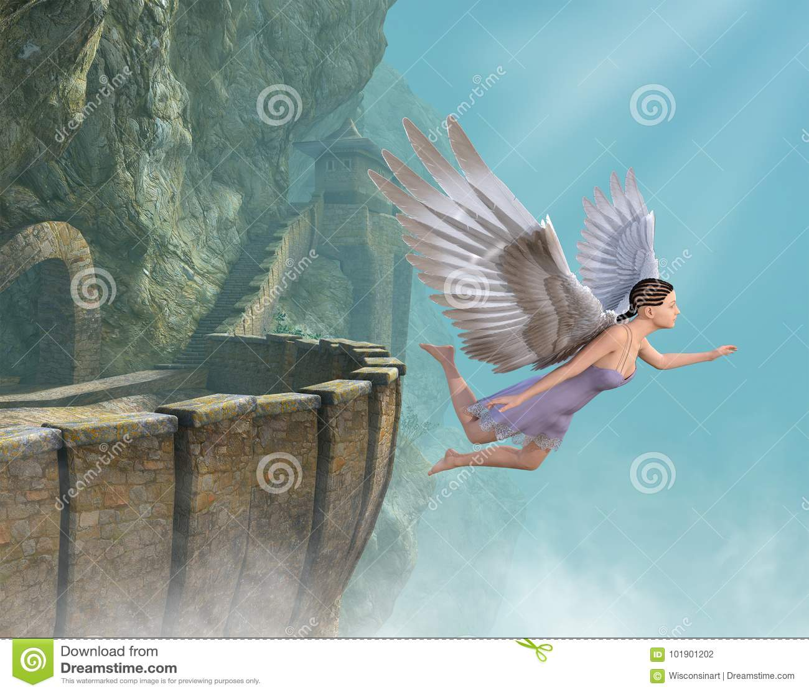Angelo di volo, castello della montagna, libertà