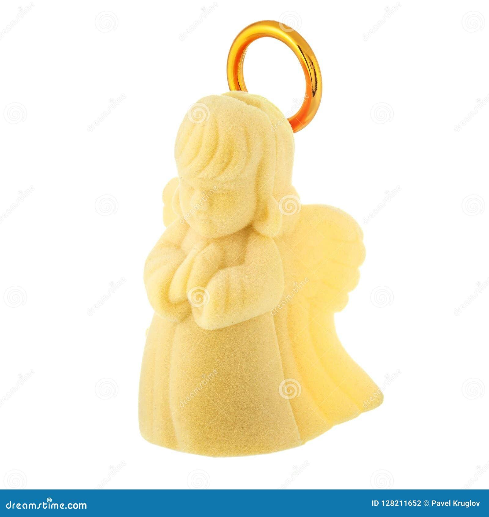 Angelo giallo del bambino di preghiera con l alone dorato