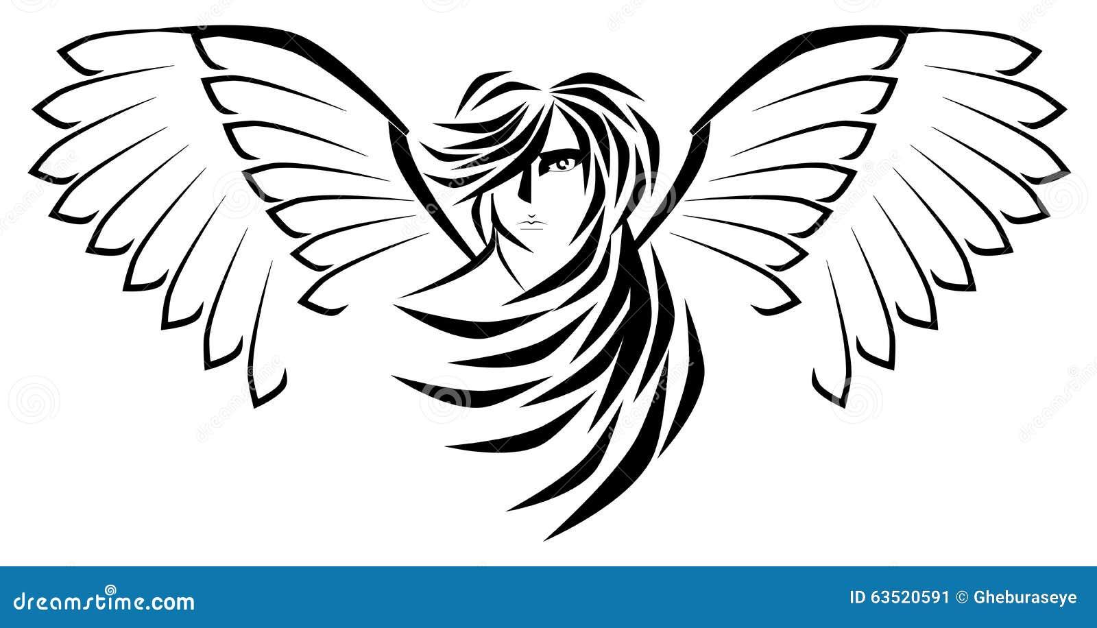 Angelo Stilizzato Nel Nero Isolato Illustrazione Vettoriale