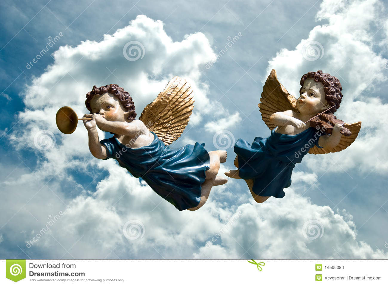 Angels stock photo  Image of blowing, stone, blue, horn