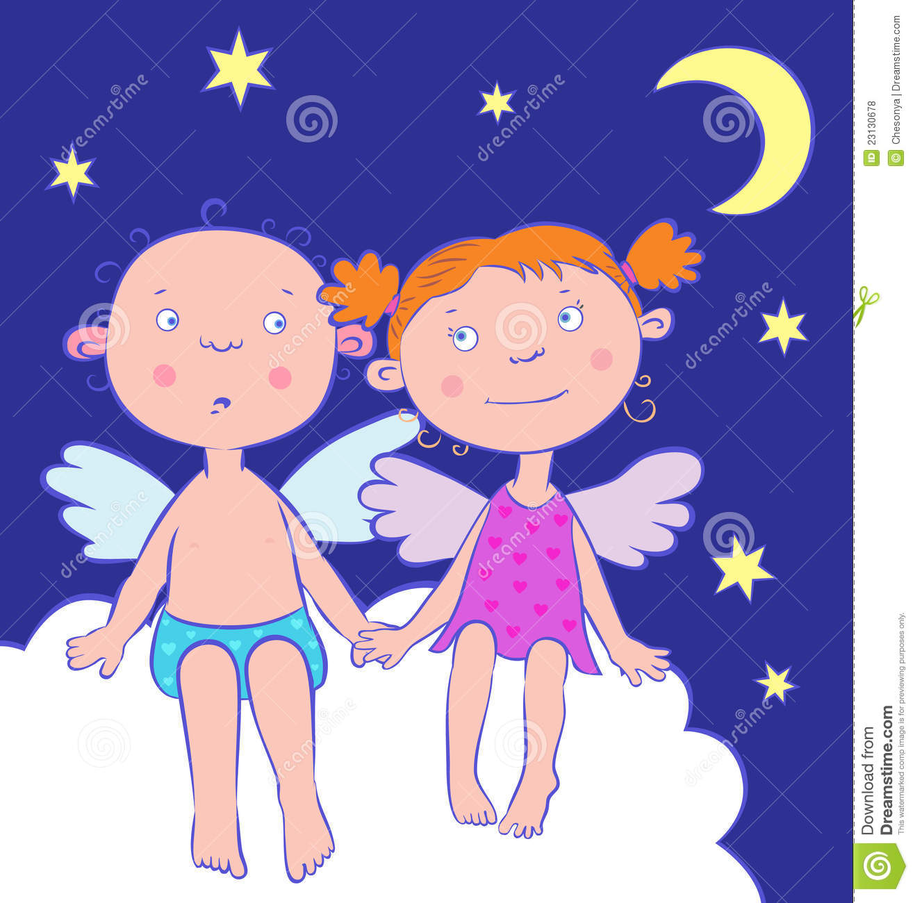 Kids at night with moon royalty free stock photography image - Angels Boy And Girl At Night Under The Moon Royalty Free Stock Photos