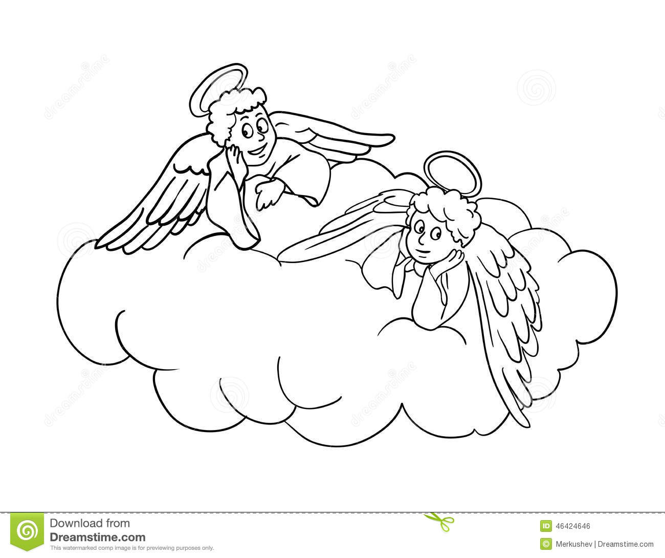 angels on a cloud vector illustration stock vector