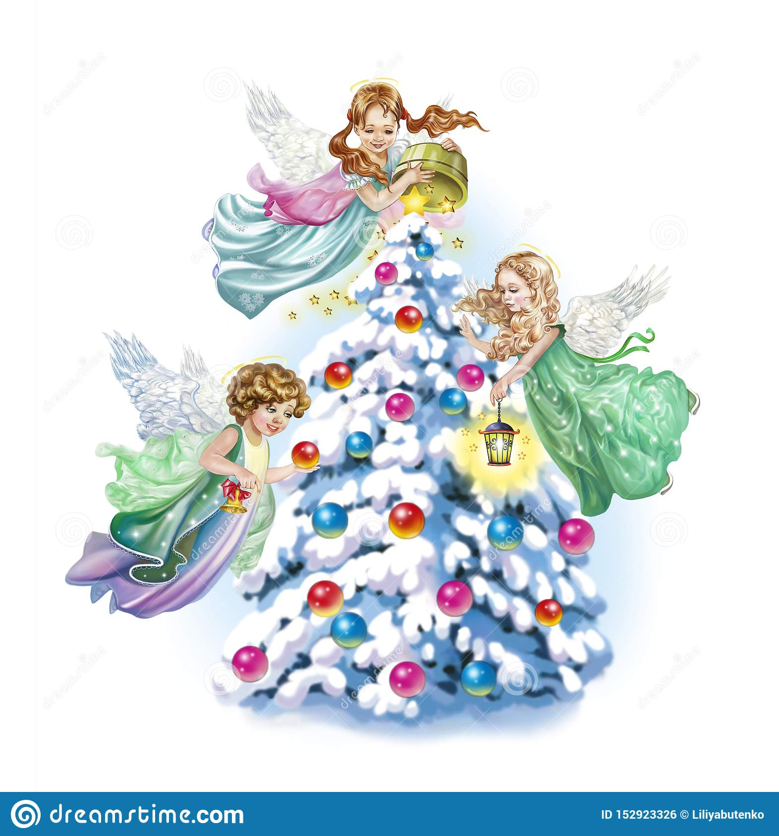 Angels decorate the Christmas tree