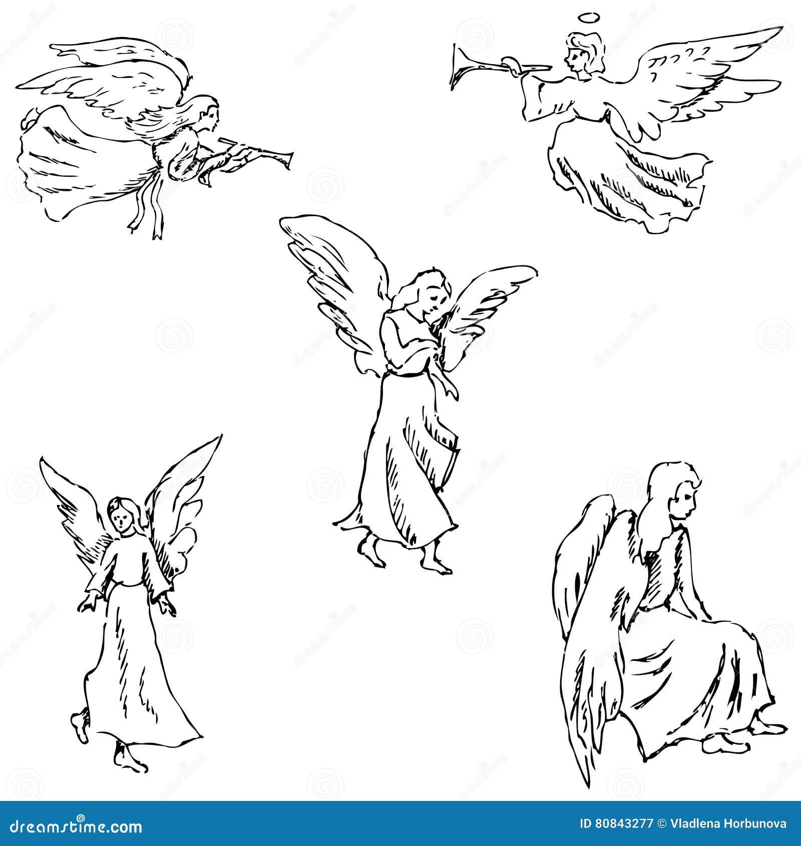Angels Esboço do lápis à mão