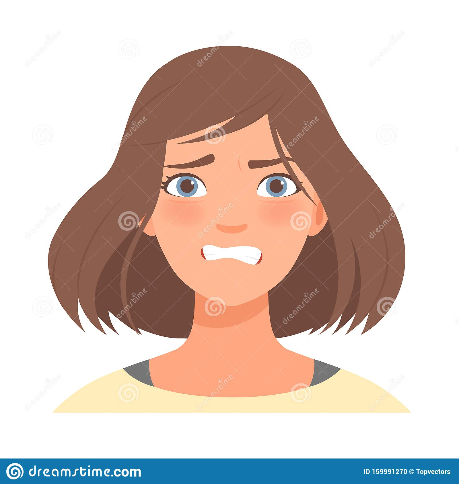 Anger On The Face Of A Cute Girl Vector Illustration Stock Vector Illustration Of Illustration Emotional 159991270