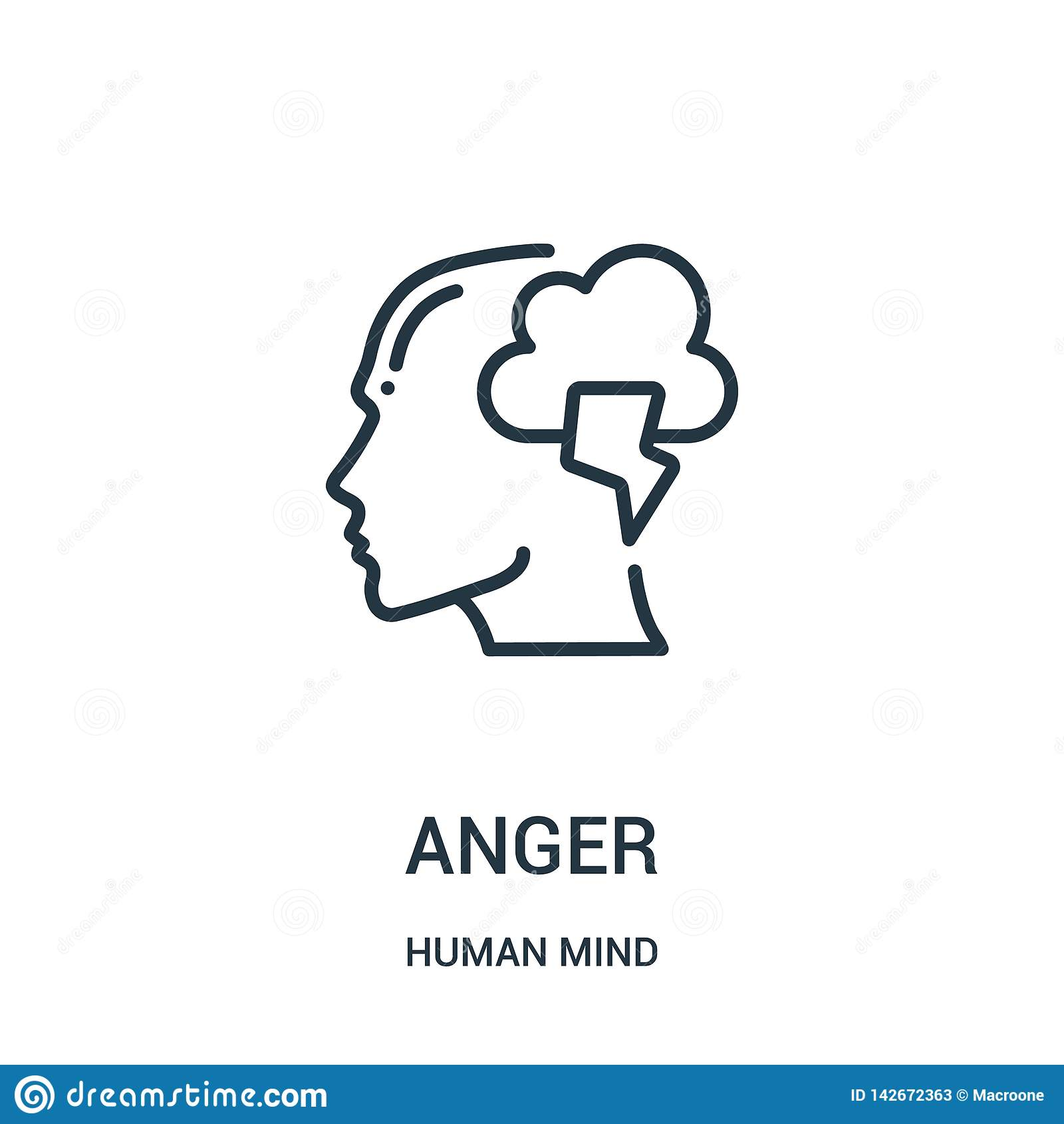 anger icon vector from human mind collection. Thin line anger outline icon vector illustration. Linear symbol for use on web and