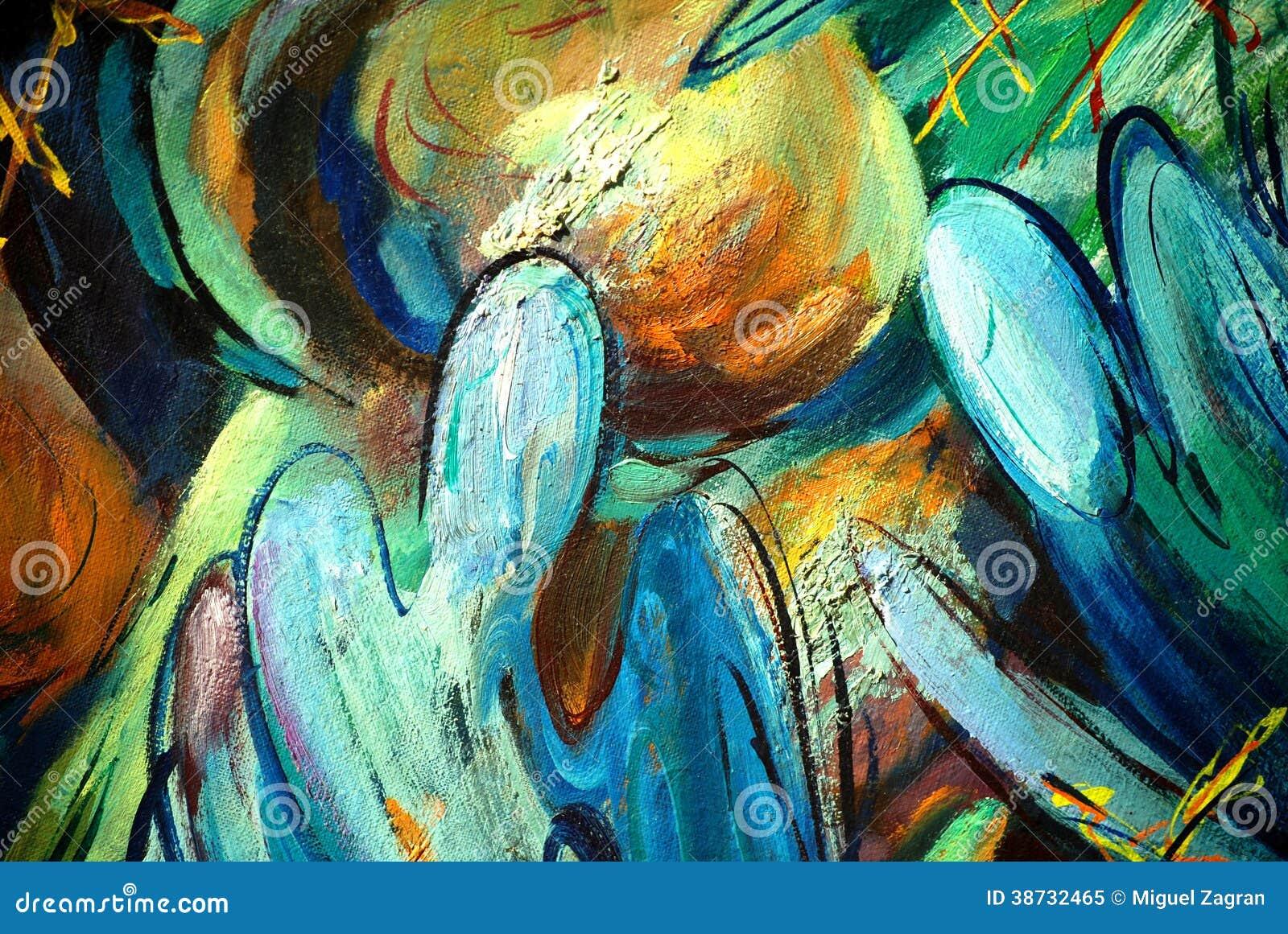 Anges et dômes, peignant par l huile sur la toile