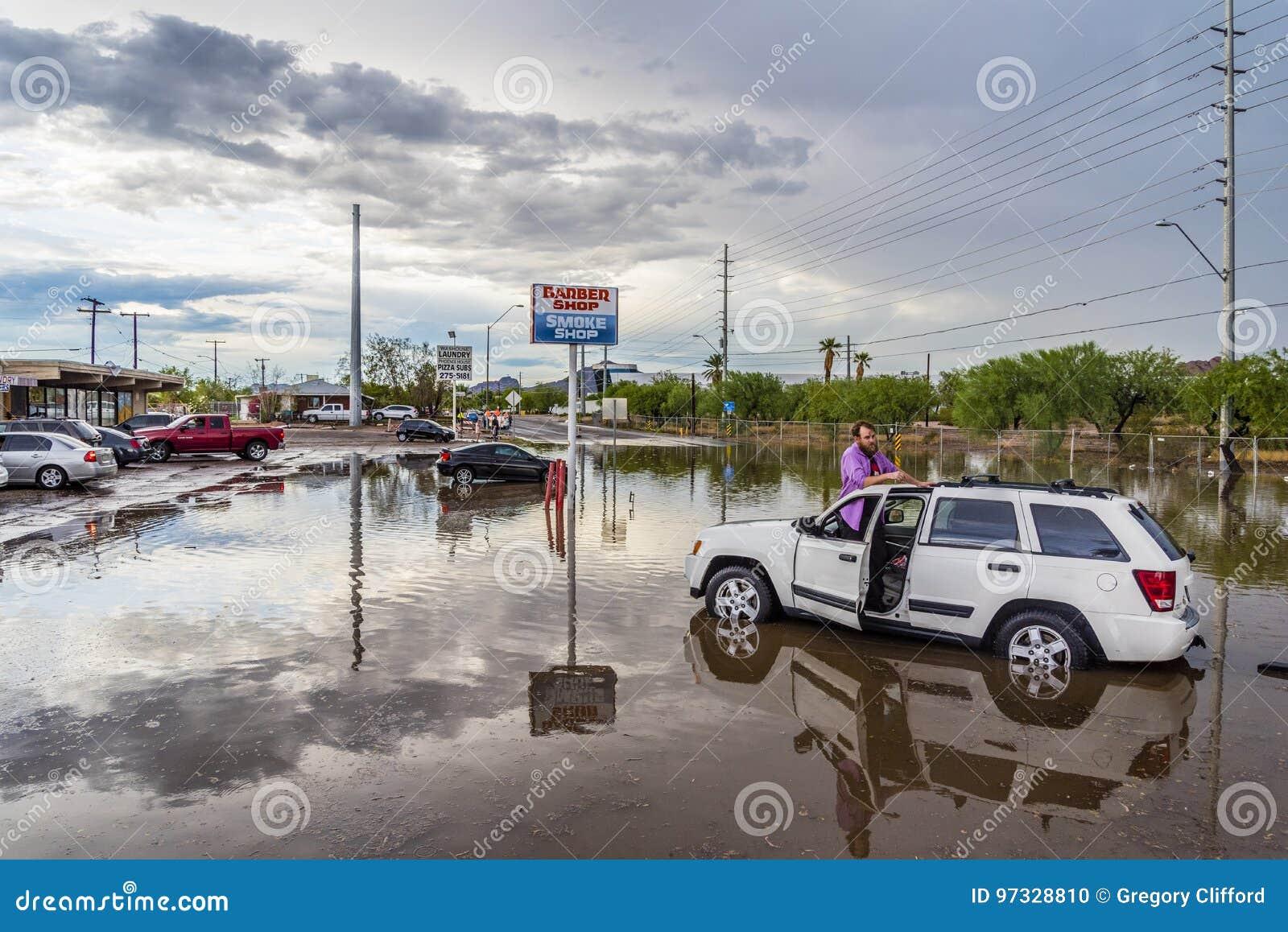 Angeschwemmter Fahrer