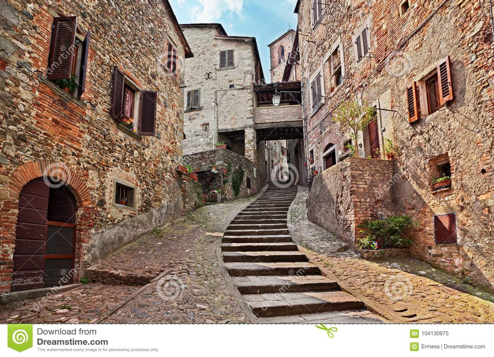 Anghiari Italy Map.Anghiari Arezzo Tuscany Italy Old Alley In The Medieval Village