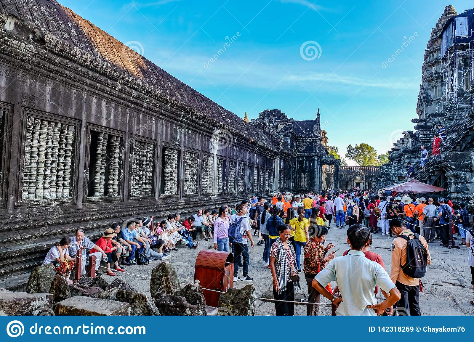 sculpture of stone carving of angkor wat editorial stock image