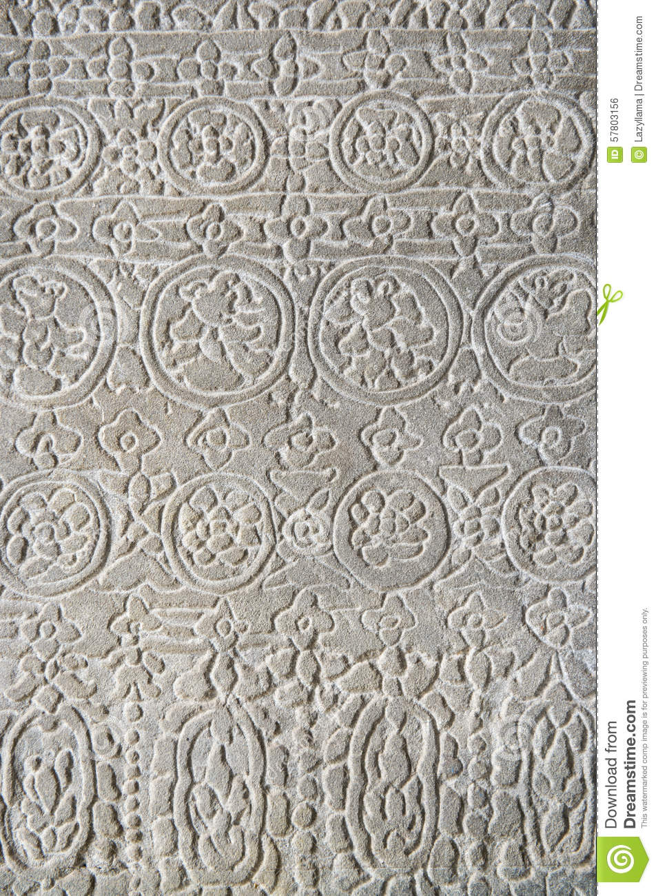 Angkor wat stone carving relief pattern stock photo