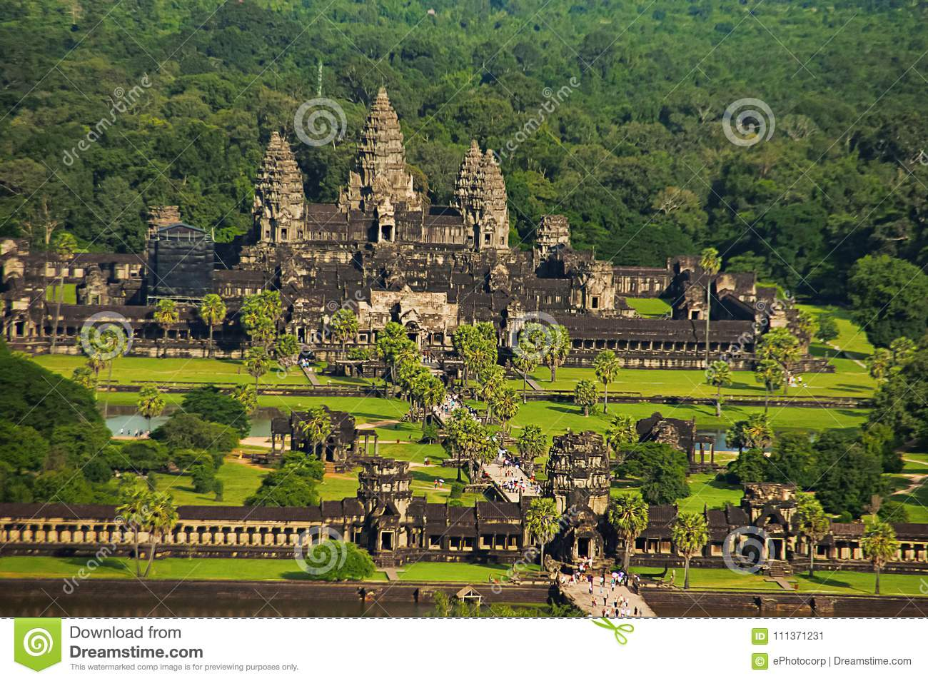Angkor Wat temple complex, Aerial view. Siem Reap, Cambodia. Largest religious monument in the world 162.6 hectares